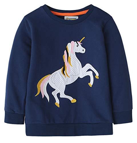 Fiream Girls Cotton Crewneck Cute Embroidery Sweatshirts(JP100,6T/6-7YRS)
