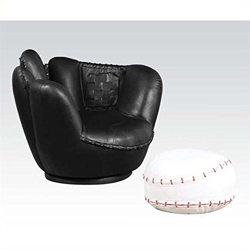 ... Acme 05522A 2 Piece All Star Set Chair And Ottoman, Baseball