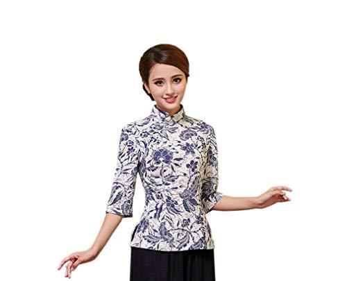 Fille Haute Manches Classique Shirt Vintage Debout Farbe4 Casual Mode Elgante Col Automne Longues Fleur Qualit Femme Chemisier Cheongsam Chinois Tops Printemps Chemisiers Style Modle De w6qYnXxgHa