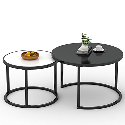 Nesting Coffee Table, LITTLE TREE Small Round Stackable Side End table Set of 2 with Sturdy Metal Base for Living/Waiting Room, Balcony and Office, White and Black