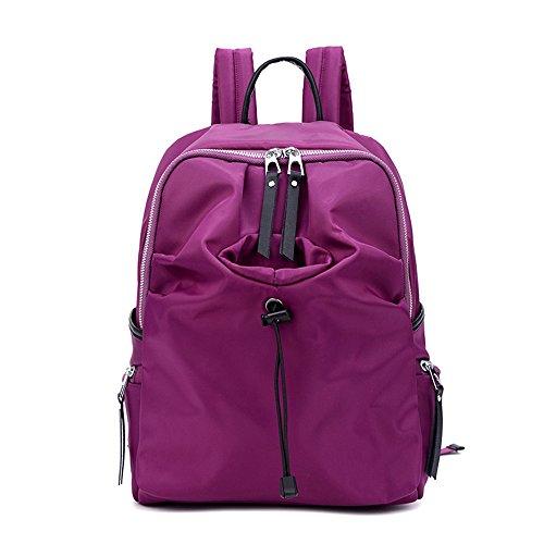Versión coreana de la bolsa de hombro de las mujeres de nylon, mochila de lona luz, bolso de tela de Oxford, bolso de mamá simple ( Color : Purple , Tamaño : 30*15*44cm ) Purple
