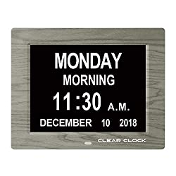 Clear Clock [Newest Version] Extra Large Digital Memory Loss Calendar Day Clock with Optional Day Cycle + Alarm Perfect for Seniors + Impaired Vision Dementia Clock (Grey)