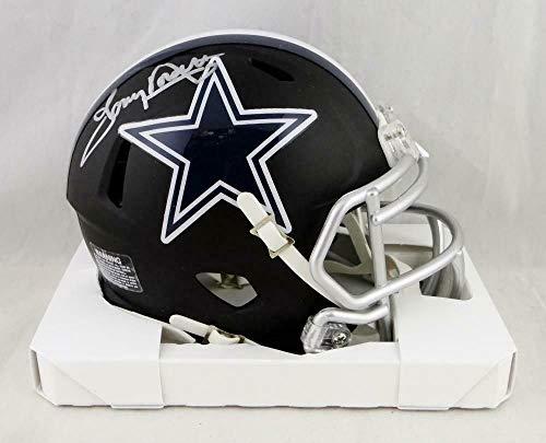 (Tony Dorsett Autographed Signed Dallas Cowboys Flat Black Mini Helmet - Memorabilia JSA Authentic Silver)