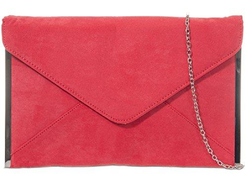Purse Women's Ladies Coral Party K50292 Bag Suede Envelope Clutch amp; Girls Evening Bag Handbag BwgPTwYq