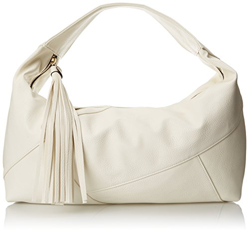 POVERTY FLATS by rian Hobo with Oversized Tassle Shoulder Bag, Cream, One Size (Poverty Flats)
