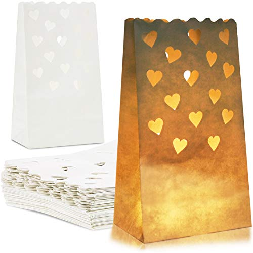 Juvale 24-Pack White Tea Light Candle Luminary Bags for Weddings, Party Decoration, 10 x 6 x 3.5 -