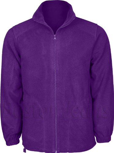 Plain Mens Fleece Full Winter Lining Fastening Jacket Zip Purple With Coloured And Front Inside 4rtrw5