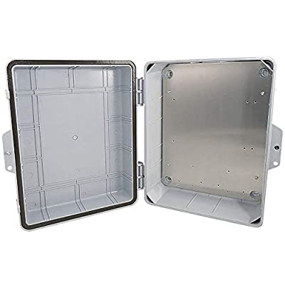"Altelix Polycarbonate + ABS NEMA Enclosure (12"" x 8"" x 4"" Inside Space) Weatherproof Tamper Resistant NEMA Box with Aluminum Equipment Mounting Plate"
