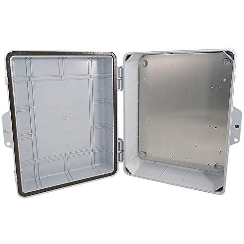 Altelix Polycarbonate + ABS NEMA Enclosure 14x11x5 (12 x 8 x 4 Inside Space) Weatherproof Tamper Resistant NEMA Box with Aluminum Equipment Mounting Plate