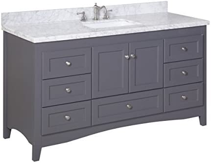 Amazon Com Abbey 60 Inch Single Bathroom Vanity Carrara Charcoal Gray Includes Charcoal Gray Cabinet With Authentic Italian Carrara Marble Countertop And White Ceramic Sink Home Improvement