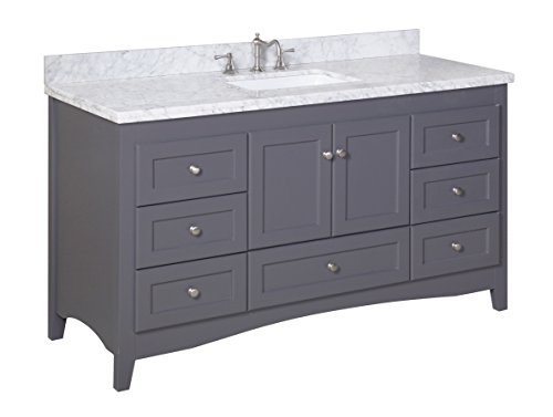 durable modeling Bella 60-inch Single Sink Bathroom Vanity (Crema Marfil/Chocolate): Includes Chocolate Cabinet with Soft Close Drawers, Authentic Spanish Crema Marfil Marble Countertop, and White Ceramic Sink