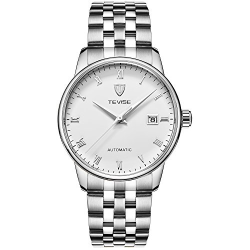 TEVISE Men's Fashion Dress Automatic Watch Thin White Dial Silver Band