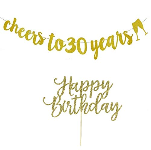 (30th Birthday Banner, 30th Birthday Decorations Gold Glitter, Cheers to 30 Years, With Happy Birthday Cake)