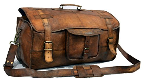 - Urban Dezire Leather Duffel Travel Gym Overnight Weekend Leather Bag Sports Cabin