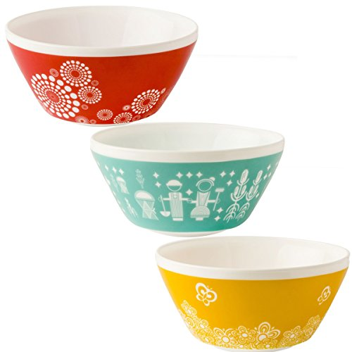World Kitchen (Set of 3) White Glass Mixing or Serving Bowls Vintage Pyrex Patterns Red Teal Yellow