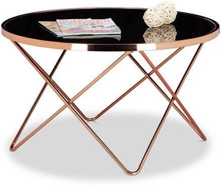 Design Table Basse en Cuivre Verre D/'Appoint Repro Art Déco