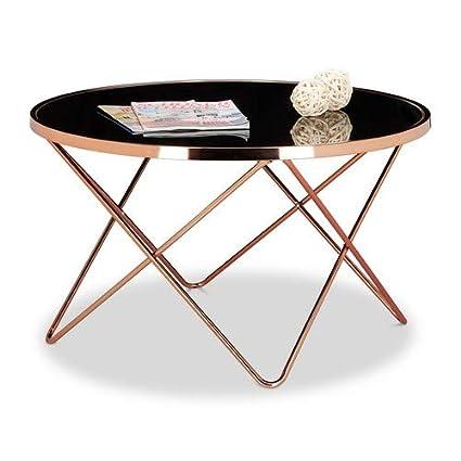 Relaxdays 10020416 Table Basse Ronde Copper En Cuivre Et Verre Noir Table Appoint Ronde Canape Hxlxp 49 X 85 X 85 Cm Design Moderne Plateau En Verre