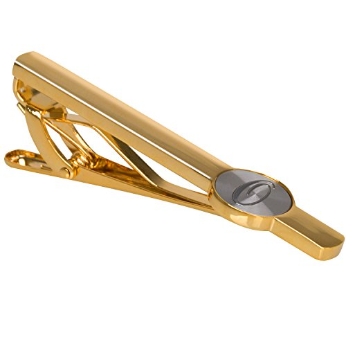 """Men Tie Bar Clip Clasp 2 3/8"""" Inches Brass 18K- gold-plated Stainless 26 Letters A-Z (golden-O)"""