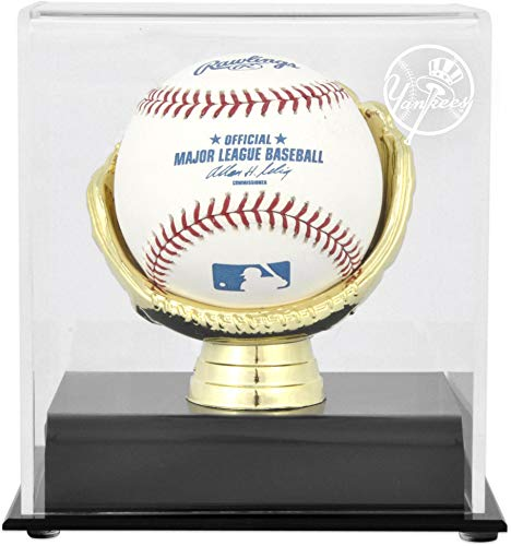 New York Yankees Logo Gold Glove Baseball Logo Display Case