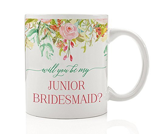 (Will You Be My Junior Bridesmaid? Coffee Mug Gift Idea - Wedding Party, Girl, Niece, Daughter Bestie, Close Friend, Teen, Future in-Law, Relative - Beautiful 11oz Ceramic Tea Cup by)