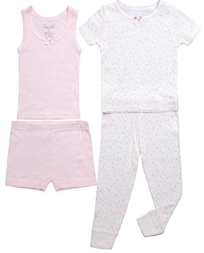 Girls Pajamas Cute Short Sleeve Tank Top W/Shorts & Pants Sleepwear 4PC Set (8, White & Pink Lady/Flower) ()