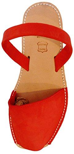 hombre abarcas Große Avarcas Sandalen Größen Authentische menorquinas Menorcan sandalias Rojo nobuck qX0CIwEHxa