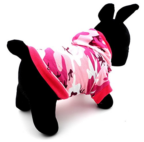 ZUNEA Small Dog Clothes for Female Summer Camo Pattern Shirt Hoodie Jumper Pink (Small Dog Jumper)