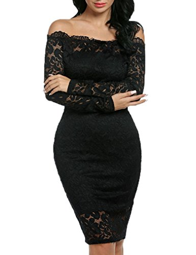Ladies Floral Lace Off Shoulder Long Sleeve Slim Evening Dress(XXL, Black)