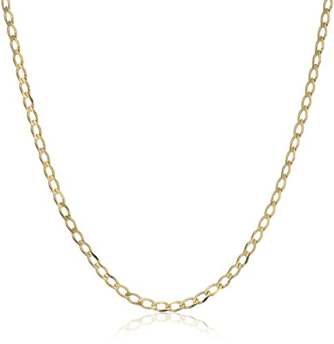 Open Curb Chain - Men's 14k Yellow Gold Open Curb Chain Necklace, 22
