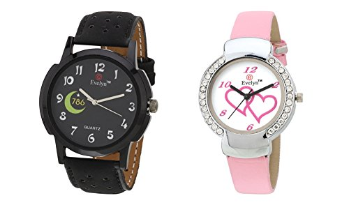 Black & Pink Analog Leather Watches for Lovely Couple - EVE-288-307
