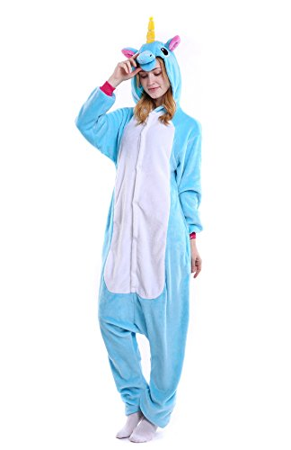 FunCos Adult Halloween Costume Cosplay Animal Hoodie Pajamas Unicorn Blue ()