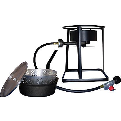 King Kooker 16'' Portable Propane Outdoor Cooker Package with 6 qt. Cast Iron Pot and Aluminum Basket by King Kooker