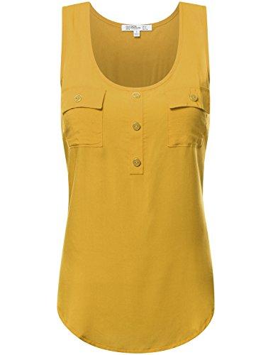 FPT Womens Sleeveless Rayon Blouse GOLDMUSTARD (Satin Sleeveless Blouse)