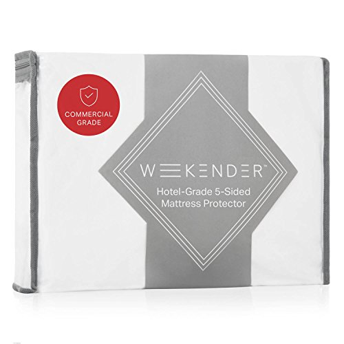 WEEKENDER Premium Commercial-Grade 5-Sided Mattress Protector - Waterproof - Quiet - Breathable - High Heat Dryer Proof - Bleachable - Reinforced Seams - Queen