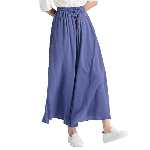 Women A-line Skirts Long Maxi Casual Cotton Elastic Waist (Royal Blue)