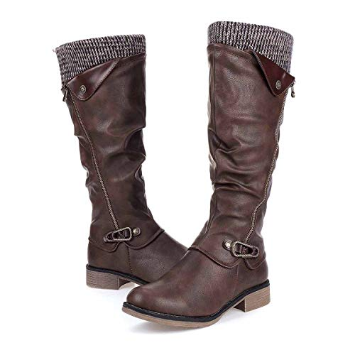 gracosy Leather Knee Boots, Women