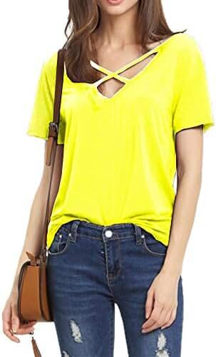 Haola Women's Summer Cross Front Tops Deep V Neck Casual Teen Girls Tees T Shirts