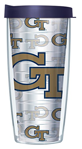 Georgia Tech Repeat Logo on Clear 16 Oz Traveler Tumbler Mug with Lid (Georgia Tech Beverage)