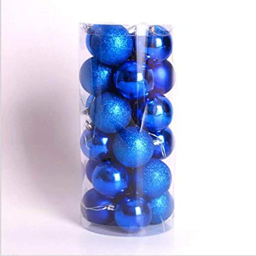Christmas Balls Christmas Ornaments Balls 24pcs 40mm Ornaments Multicolor Decorations Tree Balls for Holiday Wedding Party Decoration (Blue)