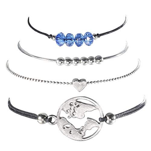 Flowop 4pcs Women Bracelet,Fashion Retro Heart Map Carved Bracelet Set Jewelry Gift Charm Bracelet ()