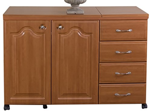 Model 7600 Space Saver Sewing Cabinet Pocket Doors, extra wide, extra leg room, door forms support. Electric Lift. Swiss Chocolate