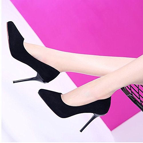 And Port 10Cm Single Light Elegant Shoes MDRW Wild Shoes Shoes Fine Women'S Lady Heeled Work Black Leisure High Black Single Waterproof Spring Satin Tip fC867Znw8q