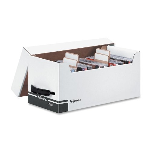 Bankers Box Corrugated CD/Disk Storage - TAA Compliant - Internal Dimensions: 5.60'' Width x 13.50'' Depth x 6'' Height - External Dimensions: 6.8'' Width x 15'' Depth x 6.3'' Height - Plastic - White, Black - Disc/Diskette Storage, CD/DVD - 1 Each by Bankers Box