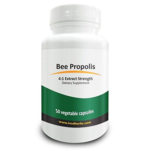 Real Herbs Bee Propolis Extract - Derived from 2800mg of Bee Propolis with 4 1 Extract Strength - Anti-Inflammatory Support for Athletic Performance, Improves Immune Function – 50 Vegetarian (Royal Jelly 50 Capsules)