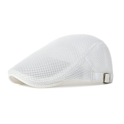 - RICHTOER Men Breathable Mesh Summer Hat Newsboy Beret Ivy Cap Cabbie Flat Cap (White)