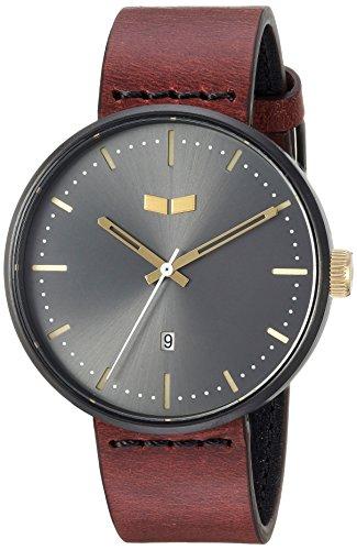Vestal 'Roosevelt Italian' Quartz Stainless Steel and Leather Dress Watch, Color:Brown (Model: RS42L09.CVBK)