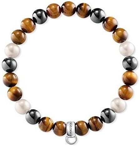 Thomas Sabo pulsera de colgantes marrón, gris, blanco x0218–948–2