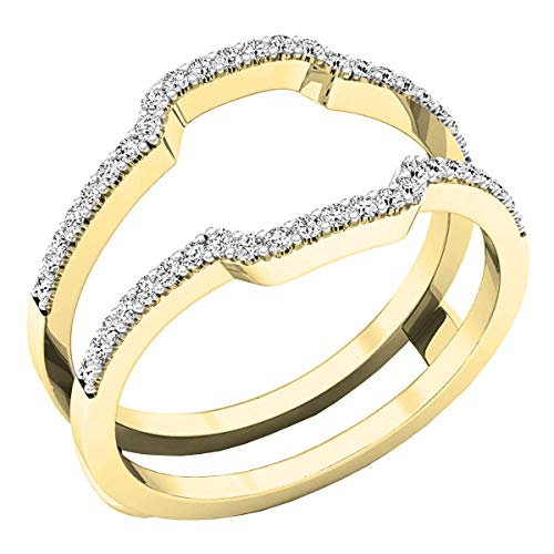Ring Guards Yellow Jewelry - Dazzlingrock Collection 0.25 Carat (ctw) 10K White Diamond Wedding Band Enhancer Guard Ring 1/4 CT, Yellow Gold, Size 7