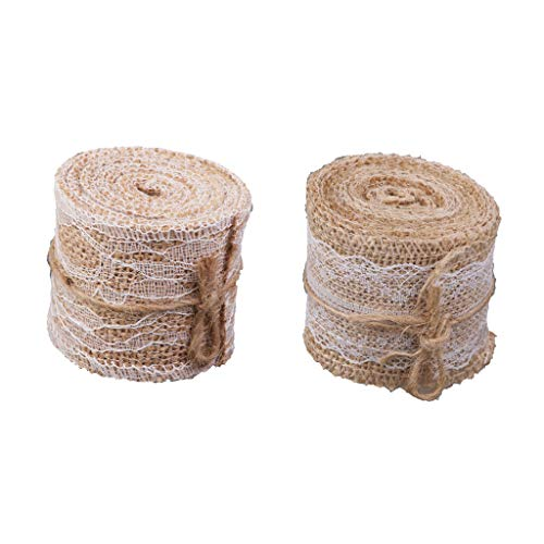(BROSCO 2 Rolls 2m Burlap Hessian Rope Lace Ribbon Cord for Christmas Gift Wrapping)