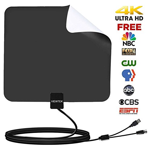 HDTV Antenna- VIEWTEK Amplified Digital Indoor TV Antennas 50 Mile Range with Amplifier, 13 Ft Copper Coaxial Cable and USB Power Supply(Black and white on both sides)